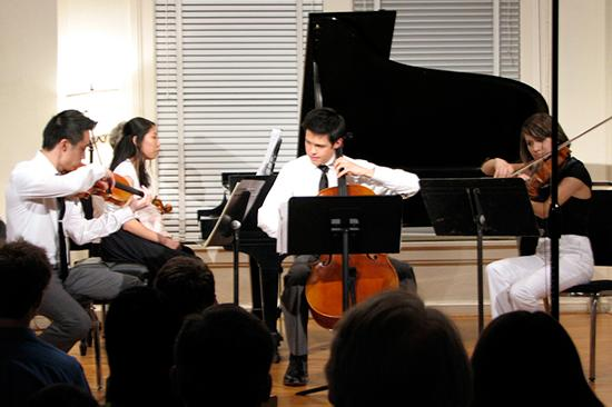 Duke student string quartet performs in the Nelson Music Room