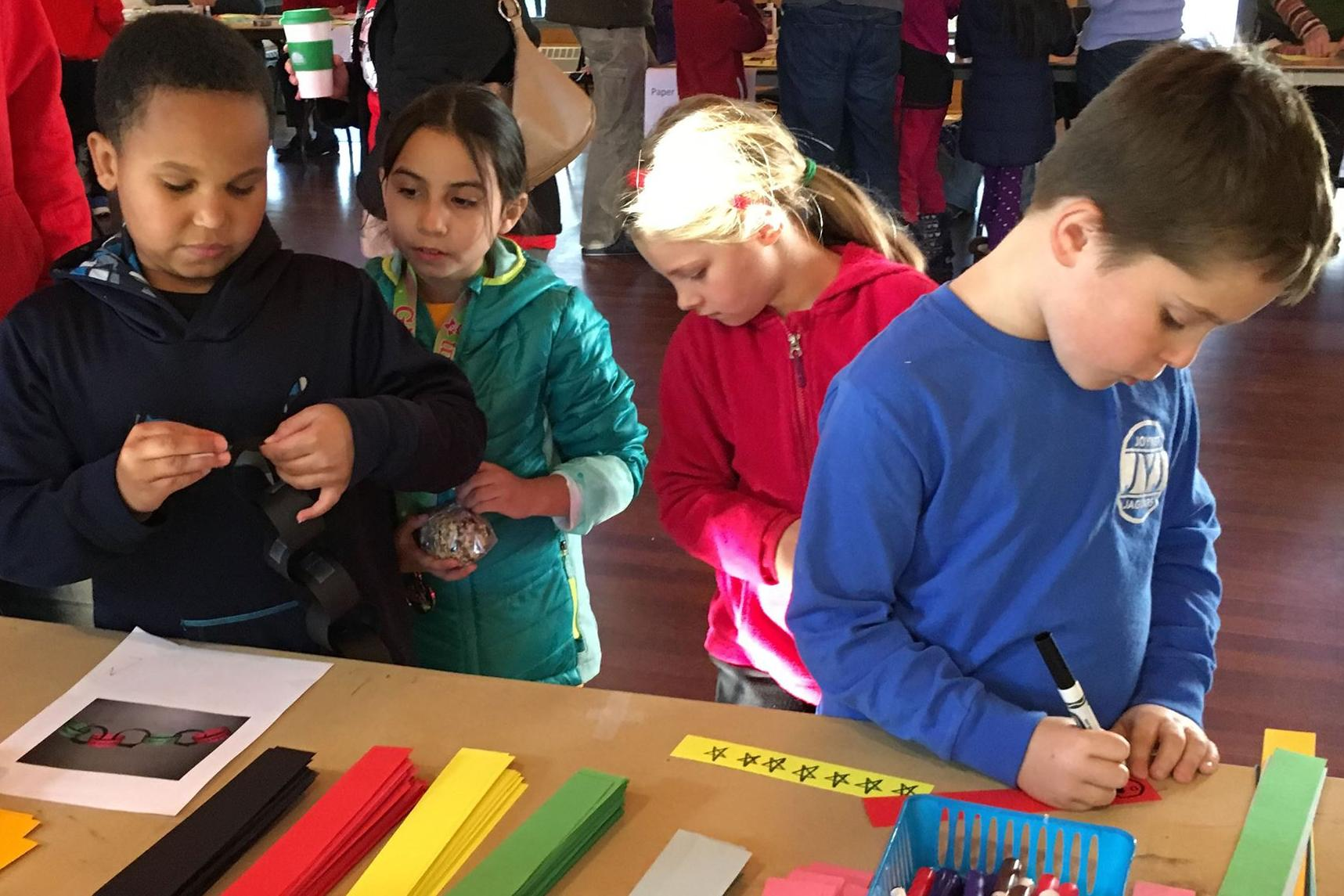 children enjoy winter fair crafts