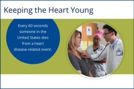 Text: Every 60 seconds someone in the US dies from a heart disease-related event. Image: Doctor checking someone's heart.