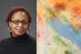 "Jerry Philogene, a visiting scholar from Dickinson College with an image of Sam Gilliam's painting ""After Glow"". 1972. © Sam Gilliam. Courtesy of the artist"
