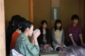 Participants in a traditional Japanese tea gathering.