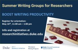 Summer writing groups for researchers