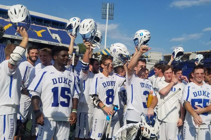 Men's Lacrosse after win vs Johns Hopkins, courtesy Duke Athletics