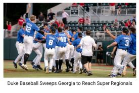 Duke Baseball Sweeps Georgia to Reach Super Regionals