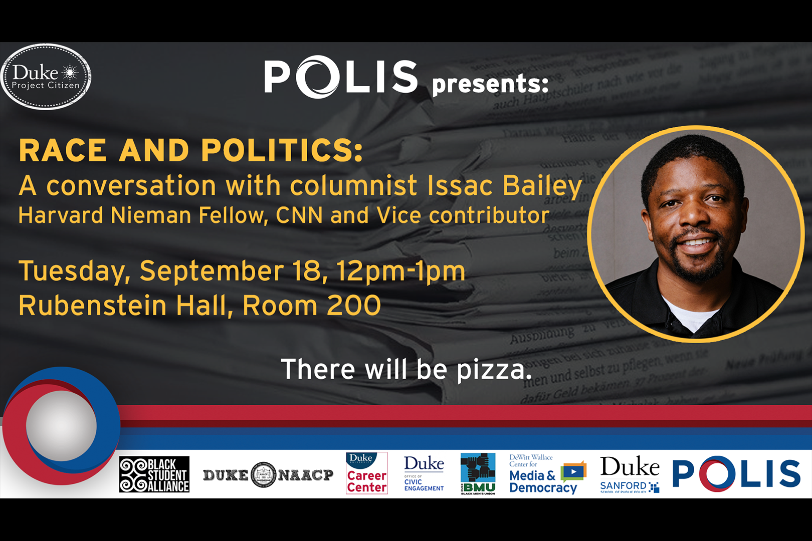 Issac Bailey event poster