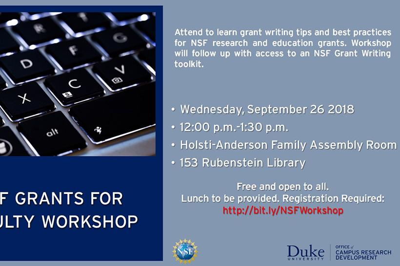 NSF Grants for Faculty Workshop; September 26 12-1:30 pm; Holsti-Anderson Family Assembly Room
