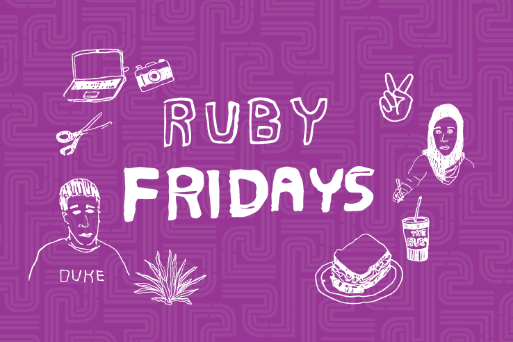 cute purple Ruby Fridays poster