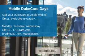 woman walks into brodhead with mobile dukecard