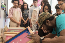 Screen printing with the Nasher Teens