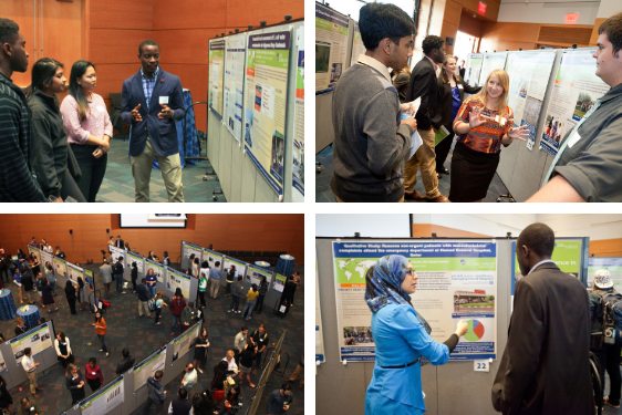 Students present posters at the 2018 Global Health Research Showcase sponsored by the Duke Global Health Institute.