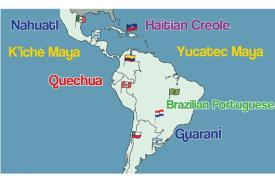 map of south america with languages noted