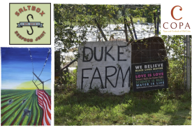 "A painting of farmworkers picking produce, trapped by a fence that is the American flag. A picture taken at Duke Farm: two signs propped against a fence. One sign says ""Duke Farm."" The other says ""We believe Black lives matter, no human is illegal, love is love, women's rights are human rights, science is real, water is life, injustice anywhere is a threat to justice everywhere."""