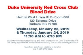 January 2019 Blood Drive Info