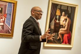 Duke Professor Rick Powell gives a tour at the Nasher Museum.