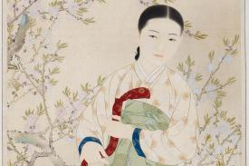 Kim Eun-ho, Miindo, 1935, ink and color on silk, 143 x 57.5 cm. Courtesy of the National Museum of Modern and Contemporary Art, Korea