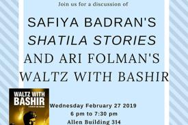 Flyer for Safiya Badran's Shatila Stories and Ari Folman's Waltz with Bashir