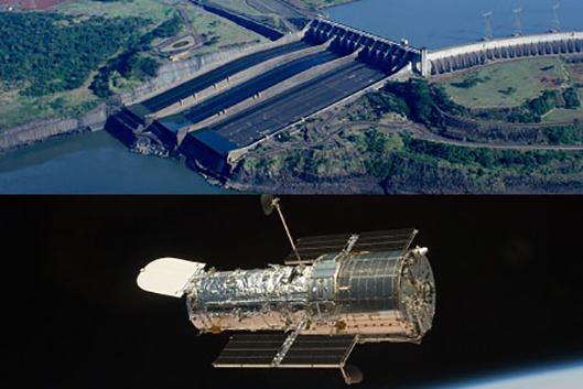 Parana River dam and Hubble telescope