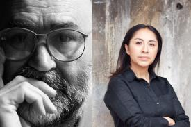Artists Rupert Garcia (left) and Minerva Cuevas