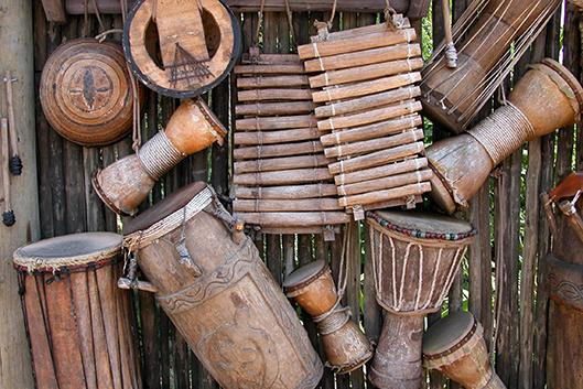 African drums and instruments.