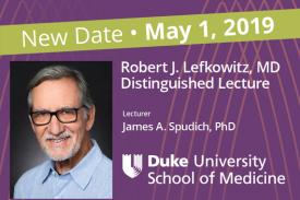 Head shot of James A. Spudich, PhD with Duke Logo and event date.