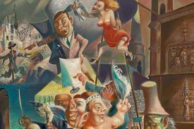 IMAGE: Michael Lenson <em>Power Corrupts (A Political Allegory)</em> (detail), Oil on canvas. 39 1/4 × 30 1/4 inches.