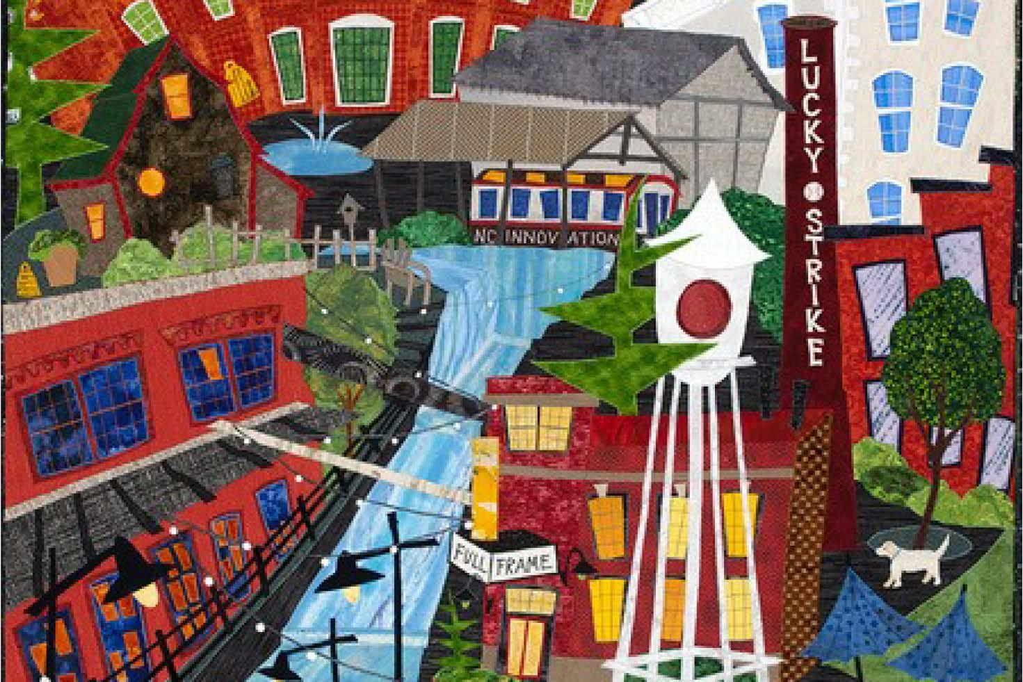 Detail of Cool Durham by Elaine ONeil.  2019  66 in. x 46 in.