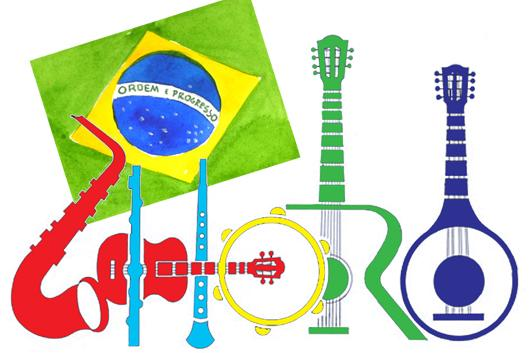 celebration of Choro graphic with instruments and Brazilian flag