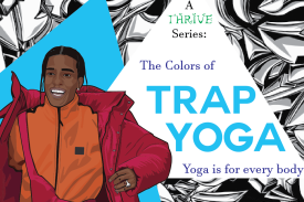 Travis Scott promoting the Colors of Trap Yoga