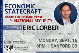 AGS Presents: Eric Lorber Monday, Sept. 16 at 6pm in Sanford 03