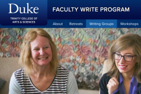 Screenshot from Faculty Write webpage showing photos of writing groups