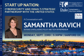 AGS Presents: Samantha Ravich, Sept. 23, 5:30pm, Sanford 04