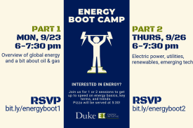 Dates and times for Energy Boot Camp