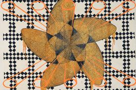 Sanford Biggers, <em>Quilt #15, Harmonics 2</em> (detail), 2012. Fabric-treated acrylic, spray paint, and cotton on repurposed quilt; 79 1/2 x 80 3/4 inches (201.9 x 205.1 cm). Promised gift of Paula Cooper in honor of Patsy and Raymond Nasher. © Sanford Biggers. Photo by Peter Paul Geoffrion.