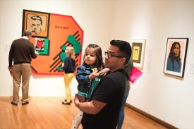 Father with daughter on Free Family Day at the Nasher Museum.