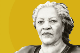 Image of Toni Morrison with golden background
