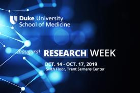 graphic background - research week, dates and location, Duke SoM logo