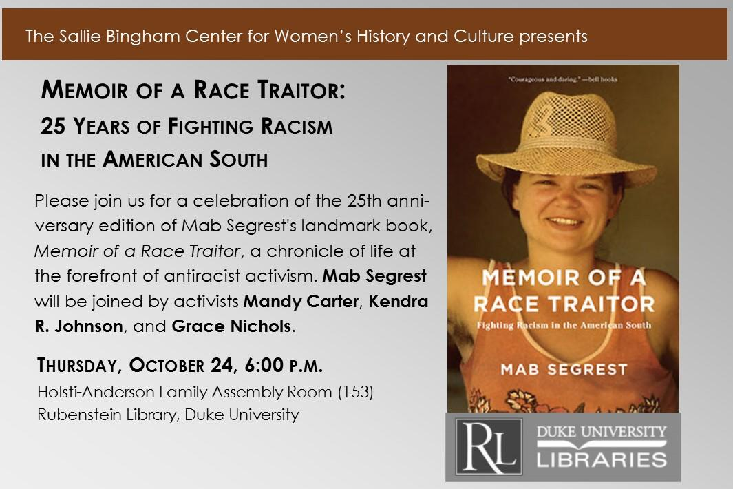 Memoir of a Race Traitor book cover and flyer