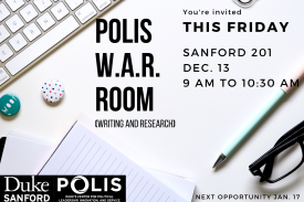 You're invited to the POLIS Writing and Research workshop in Sanford 201 on Friday, December 13 at 9 am.