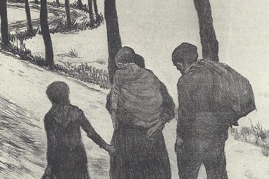 Théo Van Rysselbergh, ltem Les Errants&ltgt; (The Wanderers), 1897, lithograph in black and white, 42.3 x 51.4 cm, Library of Congress.