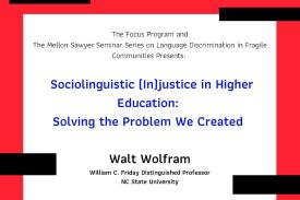 Walt Wolfram talk Feb 13 6pm