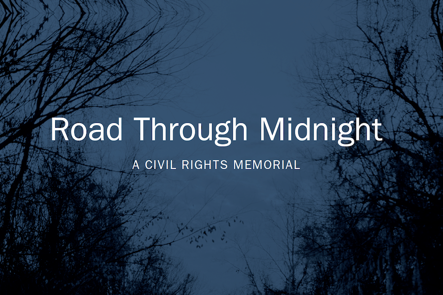 "Book cover for ""Road Through Midnight: A Civil Rights Memorial"" by Jessica Ingram."