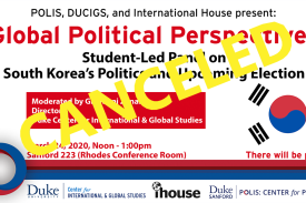 There will be pizza. Noon to 1:00 PM. Sanford 223. South Korea politics panel.