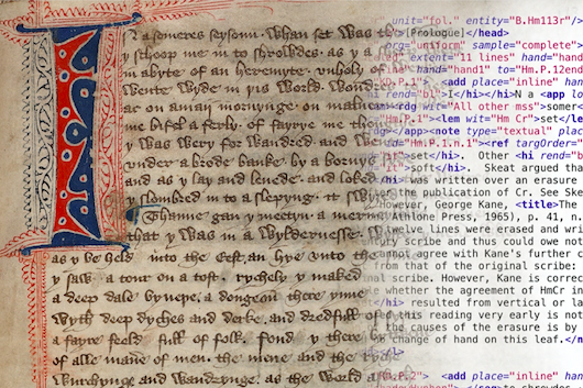 manuscript with decorative capital letter on the left, bleeding into XML-tagged typed text on the right