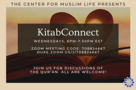 image of qur'an with heart in it with text overlaid reading KitabConnect Wednesdays, 6:30 to 8pm Center for Muslim Life, 406 Swift Ave, Join us for discussions of the Qur'an. All are welcome!