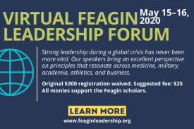 Virtual Feagin Leadership Forum text with globe logo