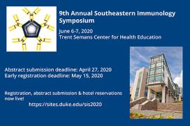 Immunology Symposium logo and image of Trent Semans Center