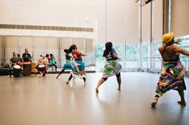 majors and minors meeting image: dancers in african dance class in the rubenstein arts center. photo by: hoang nguyen.