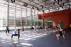Open House image of Dancers in class at the Rubenstein Arts Center. Photo: Hoang Nguyen