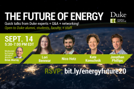 Headshots of the speakers for the Future of Energy: Quick Talks & Networking Reception