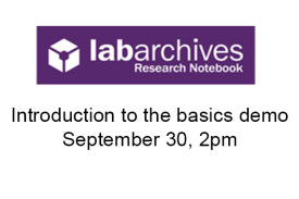 LabArchives logo - Introductory Demo.  September 30, 2pm.